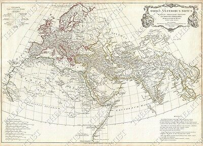 1763 LARGE VINTAGE MAP OF EUROPE THE ANCIENT WORLD OLD ANTIQUE STYLE art print