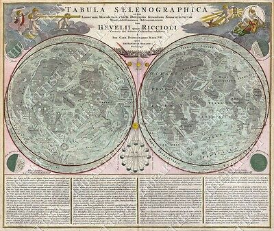 LARGE VINTAGE ANTIQUE STYLE 1707 TABULA SELENOGRAPHICA lunar Map of the Moon art