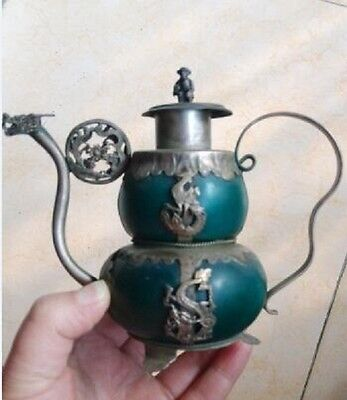 OLD JADE ARMORED TIBETAN Hand Carved  WITH MONKEY LID DECORATION TEAPOT
