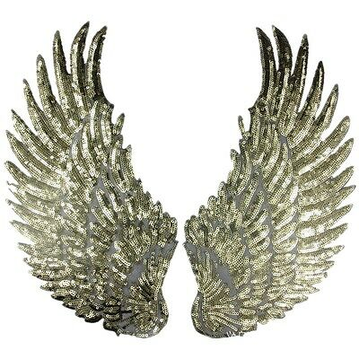 1Pair Silver Gold Sequined Feather Wings Patches Appliques Embroidered Patch