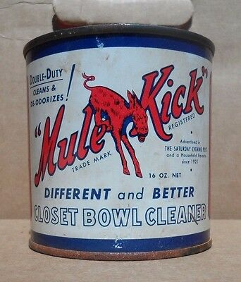 Mule Kick vintage drain cleaner can, nice graphics