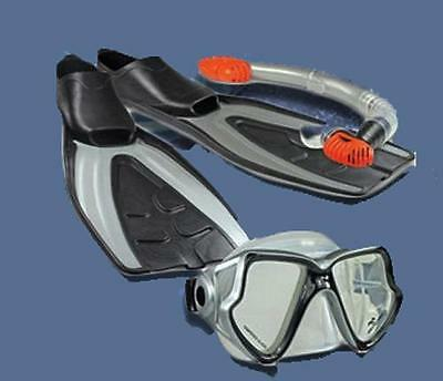 Land & Sea Fiji Silicon Mask Snorkel & Flipper Set Great For Snorkelling , Beach