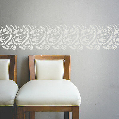 Paisley Wall Border Stencil for DIY decor - Indian paisley design