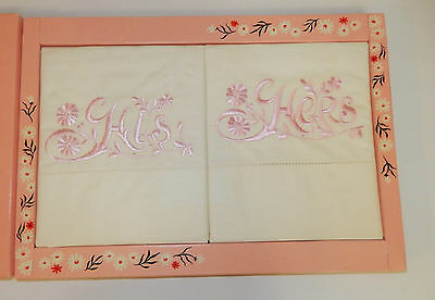 Vintage Nos In Box White Muslin Pink Embroidered His And Hers Pillowcase Set