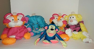Vintage Lot Fisher Price Puffalump Elephant Tigers Plush Monkeys Pink Orange 17""