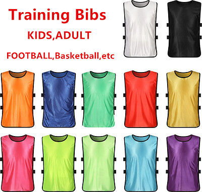 10pcs SPORTS soccer football rugby TRAINING BIBS 5 SIZES 13 Colors