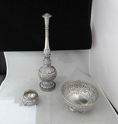 Amazing Solid 95% Pure Solid Silver Religious Oil Condiment 3 Piece Set 493Grams