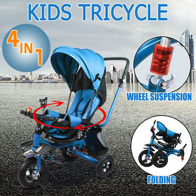 4In 1 Kids Ride-On Toys Baby Toddler Pram Tricycle Bike Trike Stroller Foldable