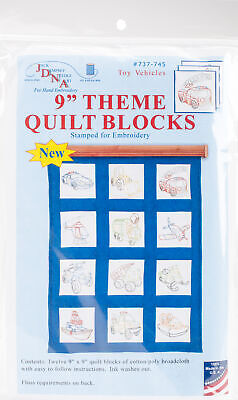 "Jack Dempsey Themed Stamped White Quilt Blocks 9""X9"" 12/Pkg-Rescue Vehicles"