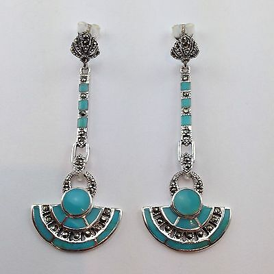 Stunning Art Deco Turquoise Marcasite Droplet Earrings 925 Sterling Silver