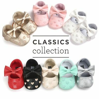 Toddler Infant Baby Boy Girl Bowknot Tassel Leather Shoes Moccasin Soft Sole AU