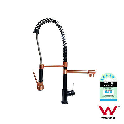 Matte Black & Rose Gold Multi function Flexi-spray Pull Out Spring Kitchen Mixer