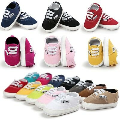 AU Baby Newborn Girl Boy Canvas Soft Sole Toddler Infant Shoes Prewalker Sneaker
