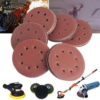50PCS 125mm 5'' Orbital Sanding Disc 40 60 80 120 240 Grit Paper 8 Holes Sheet