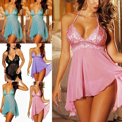 3XL Women Dress Babydoll Lingerie Nightwear Underwear Sleepwear+Sexy G-String AU