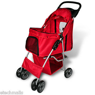 Pet Stroller Travel Dog Pushchair Puppy Cat Pram Buggy With 4 Swivel Wheels Red
