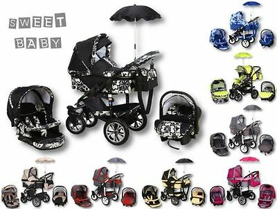 Baby Pram Matti 3In1 Pushchair Carry Cot Car Seat Umbrella , Available Colours