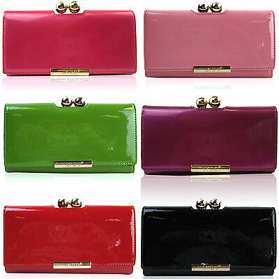 fe37a7476dd LYDC TRIFOLD LADIES Bobble Matinee Clasp Purse Patent Women Wallet Girl  Notes UK