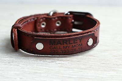 Personalized Leather Dog Collar Custom Free Engraving Pet Name Large Small Dog