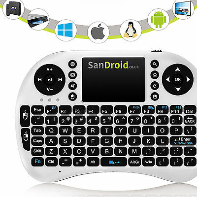 2016 White Rii i8+ Backlit 2.4G Android TV Box Wireless Keyboard Touchpad Mouse