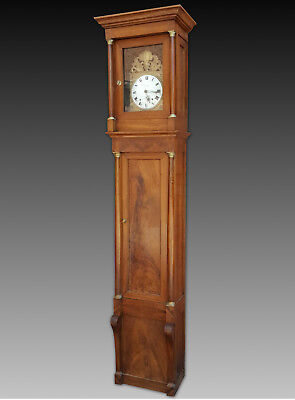 ANTIKE STANDUHR PENDEL CLOCK - NUSSBAUM WALNUSS - EMPIRE 1810 ca