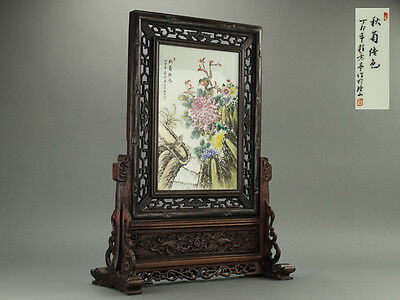Chinese Old Porcelain Screen 粉彩花鳥図唐木枠硯屏 / Large W 49× D 20× H 66 [cm]