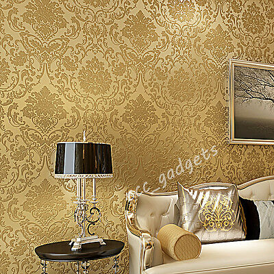 European Vintage Luxury Damask Wall Paper Embossed Textured Wallpaper Roll Decor