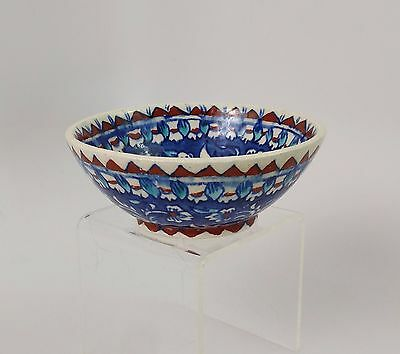 """Kutahya Blue Floral Hand Painted Turkish Pottery Bowl 4.25"""""""