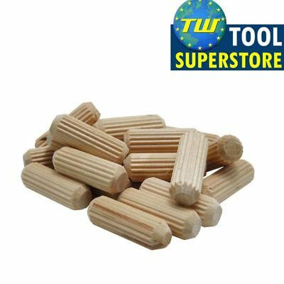60pc Wooden Dowel Pins Wood Fluted Grooved Plugs Furniture Joinery 10mm x 40mm