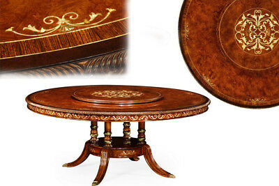 Luxurious 71 Inch Burl Walnut and Pearl Inlaid Dining Table, Detailed Design
