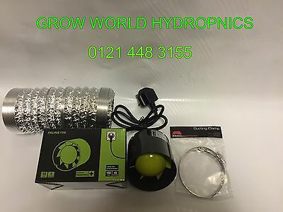 """4"""" Inch 100mm Inline Extractor Intake Grow Room Fan 3M Ducting & 2 Ducting Clips"""