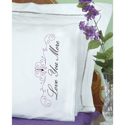 Jack Dempsey Stamped Pillowcases W/White Lace Edge 2/Pkg-Love You Love You More