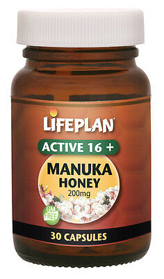 Lifeplan Active Manuka Honey Capsules 16+ 200mg 30 capsules
