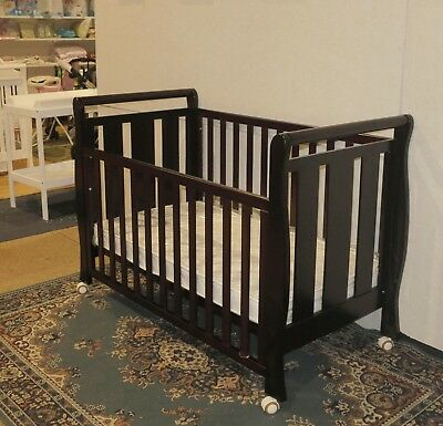 NEW 3 IN 1 SLEIGH COT CRIB WHITE JUNIOR  baby BED inner spring mattress WALNUT