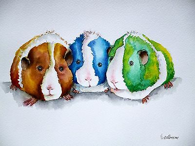 """*GUINEA PIGS* ORIGINAL ART A4 Watercolour 9 x 12"""" Signed Painting by Maria Moss"""