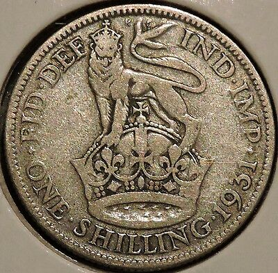 British Silver Shilling - 1931 - King George V - $1 Unlimited Shipping