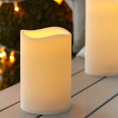 Outdoor Battery Operated LED Flickering Candle with Timer - Small