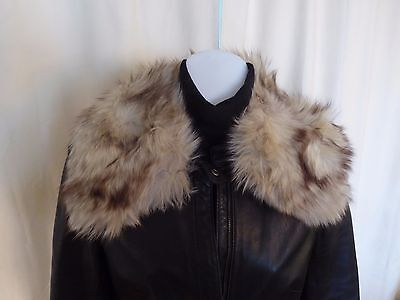 VTG real fur white burgundy marble fox collar 2/2