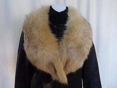 VTG real fur white burgundy marble fox collar stole 1/2