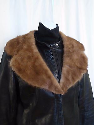 Vtg Brown real mink fur collar