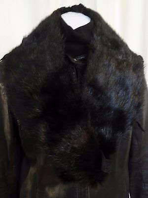 Vtg Black real mink fur collar