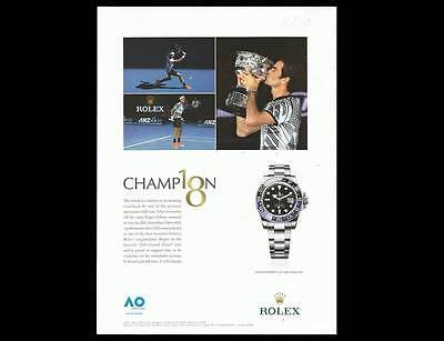 2017 PRINT AD for Rolex GMT Master Roger Federer ADVERTISING PAGE