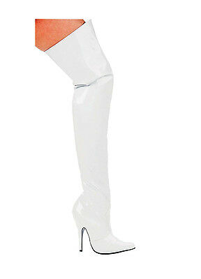 Adult White Thigh High Patent Leather Boots Ellie Shoes THRL