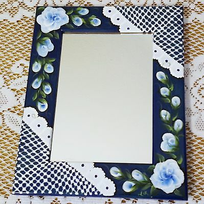 Shabby Chic Wood Desk Wall Mirror Hand Painted Blue Roses and Lace 4.5 x 6.5