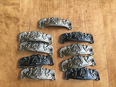 "c1880s SET of 9 matching authentic VICTORIAN cabinet pull hardware 3.5"" on holes"