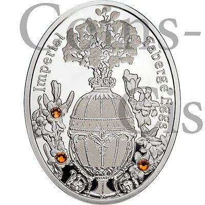 Niue 2012 1$ Lily Bouquet Egg Imperial Faberge Egg Proof Silver Coin Swarovski