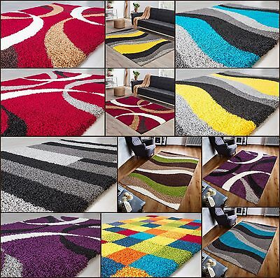 SMALL - EXTRA LARGE SIZE THICK 5cm PILE PATTERN MODERN NON-SHED SOFT SHAGGY RUG