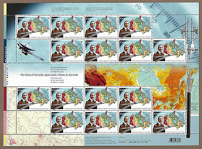 Canada Stamps -Full Pane of 16 -James White: Atlas of Canada Centenary #2160 MNH