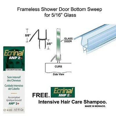 """Shower Door Bottom Seal with Drip Rail for 5/16"""" Glass - 32"""" long with Shampoo"""