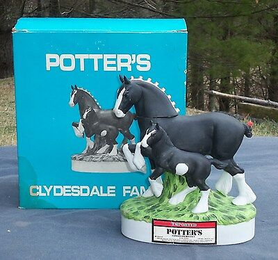 RARE POTTER'S Canadian DECANTER CLYDESDALE FAMILY: Mare & Foal. Horses Empty